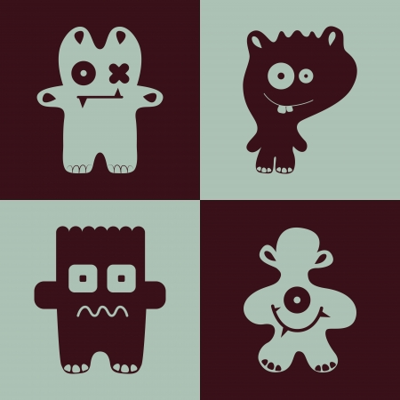 collection of cartoon funny monsters. Vector