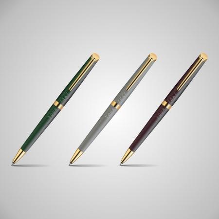illustration of three pens. Vector