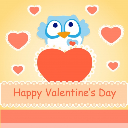 Background for Valentines day with owl. Vector