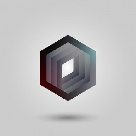 black hexagon. Vector