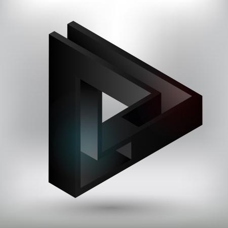 Black triangular element. Illustration