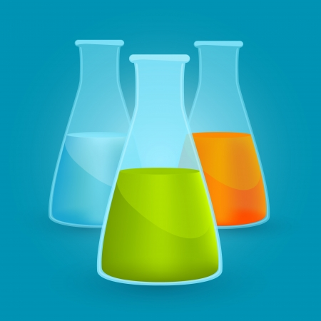 Three flasks with different chemical solutions. illustration Vector