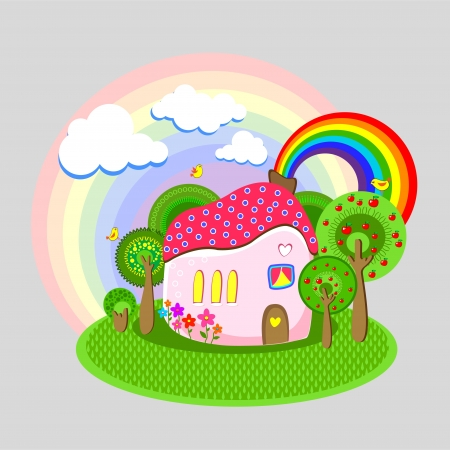 illustration of house with rainbow. Stock Vector - 18769974