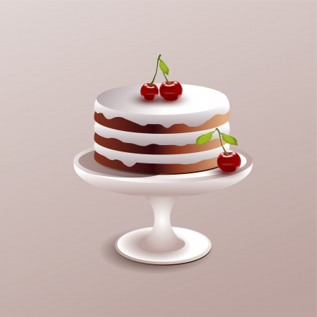illustration of a cake with cherry. Vector