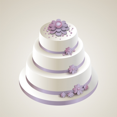 illustration of a wedding cake with flowers. Vector