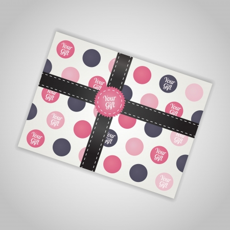 illustration of gift box with ribbon. Vector