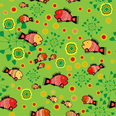Vector folk background with fishes Stock Vector - 18770341