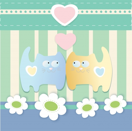cute background with cats Vector
