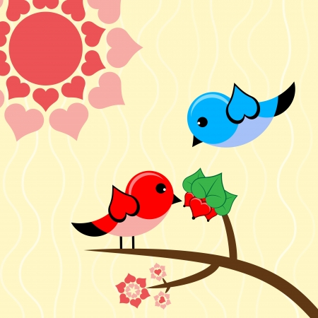 illustration with bird in love. Vector