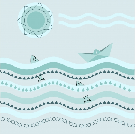 background with paper boat Vector