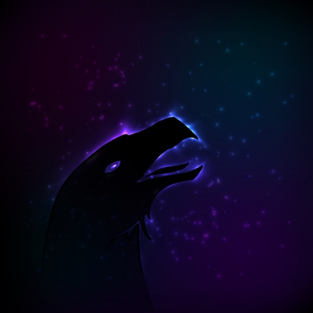 Silhouette of eagle at night. illustration. Vector