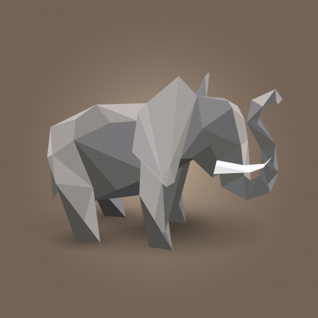illustration of origami elephant. Vector