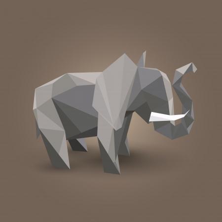 illustration of origami elephant. Illustration
