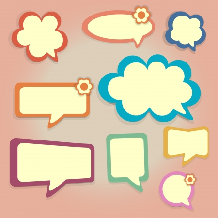 Vector set of colored speech bubbles. Vector