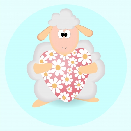 Sheep with heart. Vector background. Vector