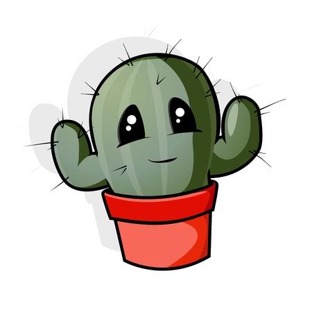 A green cartoon cactus in a pot. Stock Vector - 18859198
