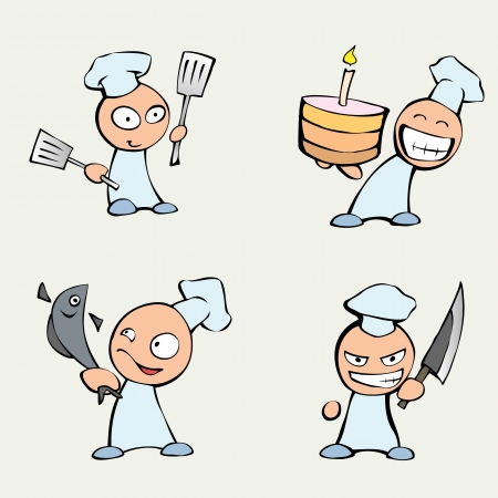Collection of cute chef men Vector