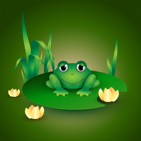 Frog sitting on Water lily leaf Vector