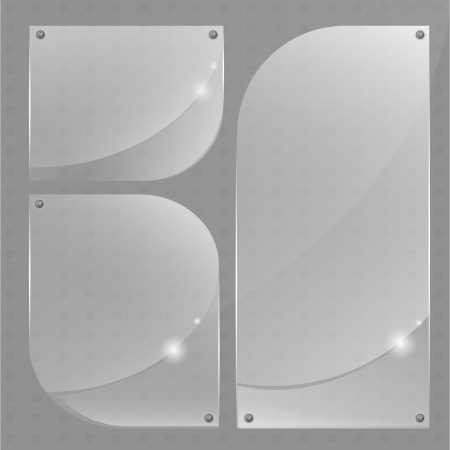 Collection of transparent glass banners. Vector