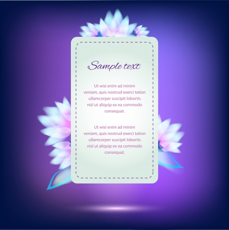 Invitation card on violet background with colorful flowers Vector