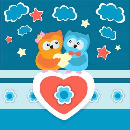Vector background with two owls in love  Vector