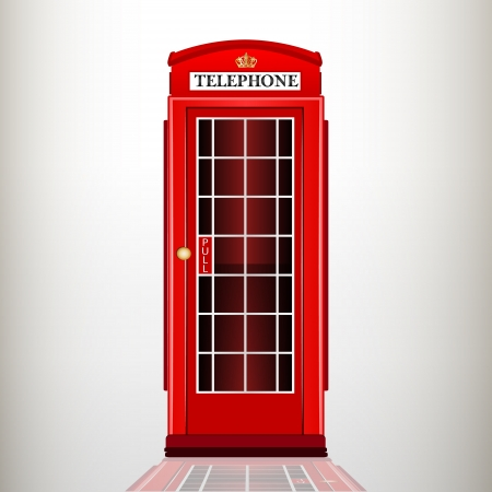 English red telephone booth. vector illustration.