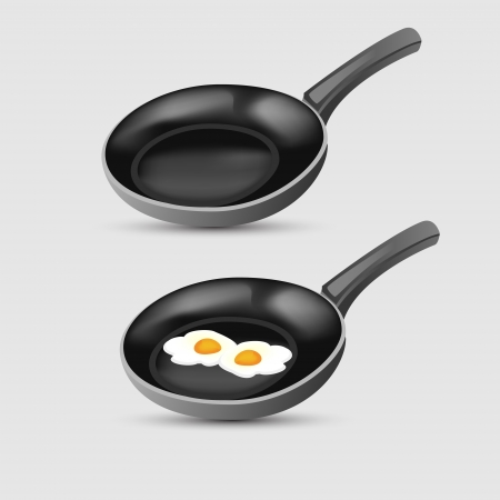 Fried eggs on frying pan. Vector illustration. Vector