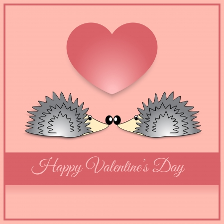 Vector greeting card with hedgehog Vector