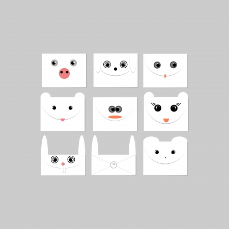 Envelopes with faces of animals  Vector illustration Stock Vector - 19138695