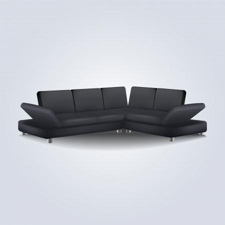 Black sofa illustration. Vector