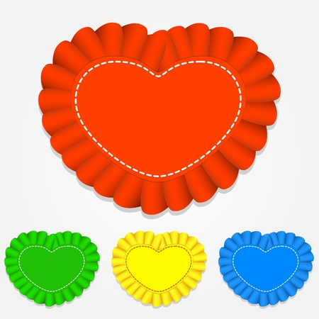 Vector set of heart shaped labels. Stock Vector - 19154674