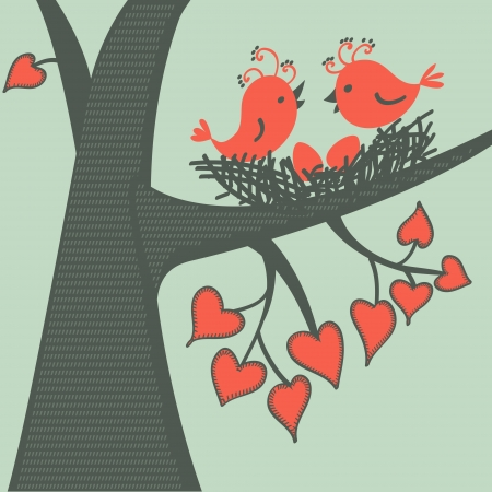 Bird on a branch in love. Vector illustration. Vector