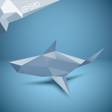 Vector illustration of origami shark. Vector