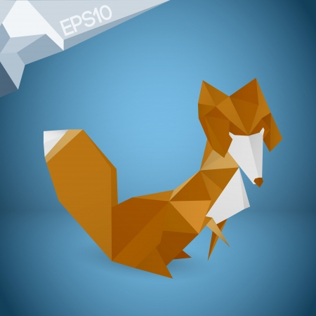 Vector illustration of origami fox Vector