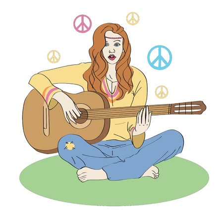 Hippie girl with guitar Vector