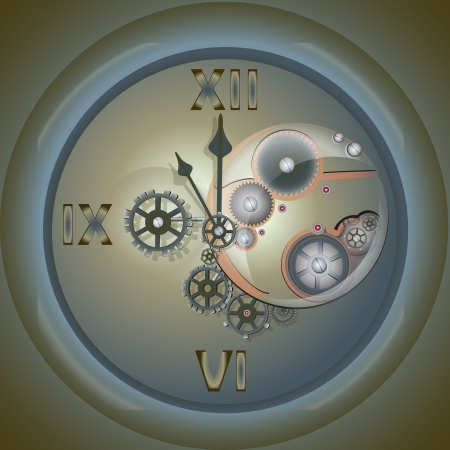 Clock with mechanism. Vector illustration. Vector