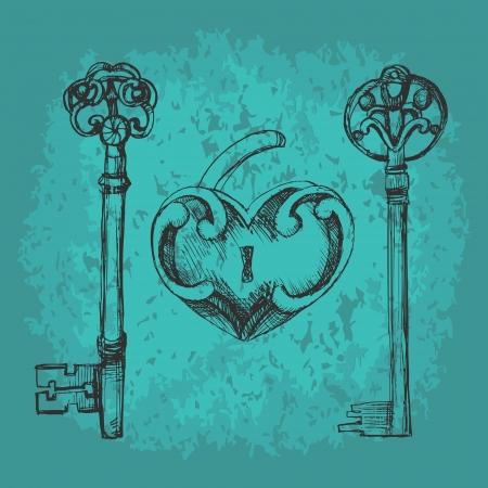 Vector keys to heart. Stock Vector - 19187854