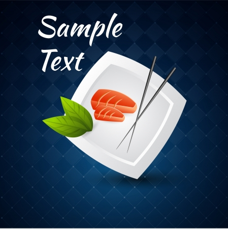 Vector background with sushi on the plate and chopsticks. Vector