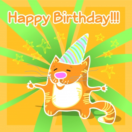 Vector greeting card with cat. Vector