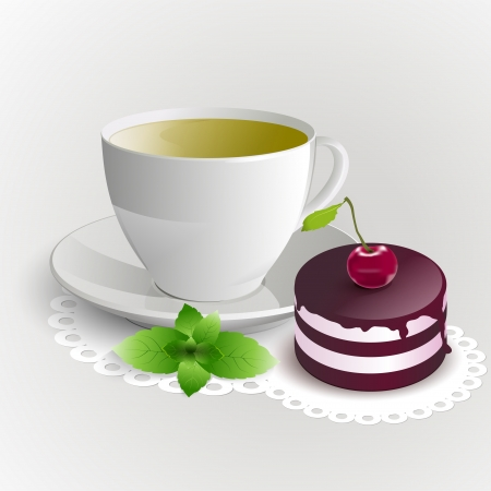 Cup of green tea with cherry cake. Vector illustration. Vector