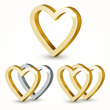 Vector golden hearts. Stock Vector - 19187926