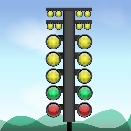 Vector illustration of big traffic light. Vector
