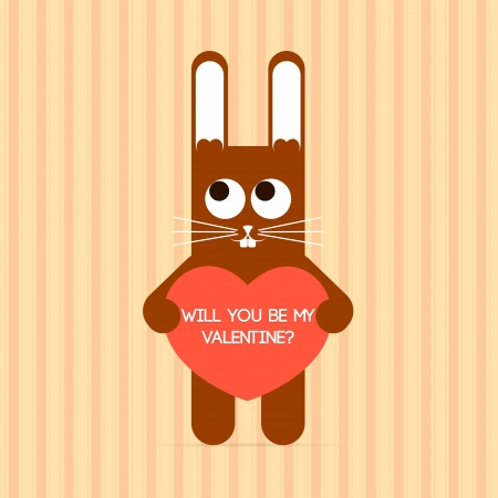 cute rabbit with Valentine card. Vector