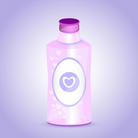 Pink bottle with hearts. Stock Vector - 19200675