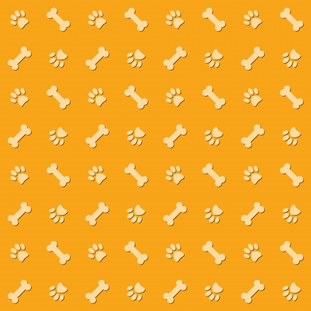 Background with dog paw print and bone Stock Vector - 19228672