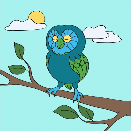Blue owl in the daytime illustration Vector