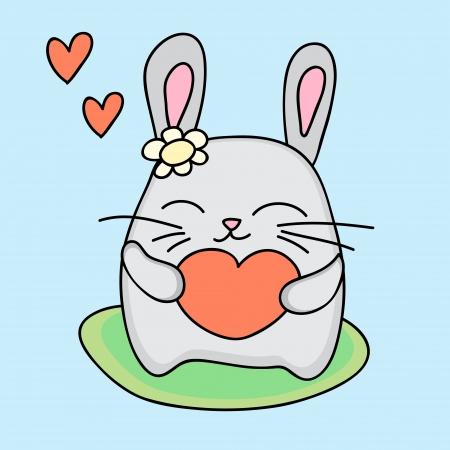 Lovely rabbit holds love heart - illustration Vector