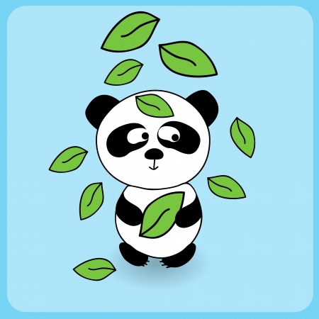 Illustration of cute cartoon panda with falling leaves Vector