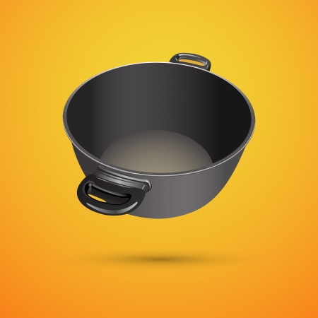 Black pan illustration. Vector
