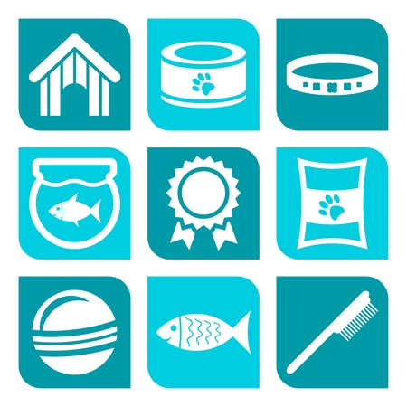 Collection of pet care icons - illustration Vector